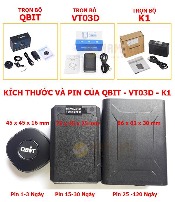 Trọn bộ và kích thước của Qbit - VT03D - K1